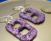 Handmade Repurposed Purple Glitter Soda Can Tab Earrings OOAK