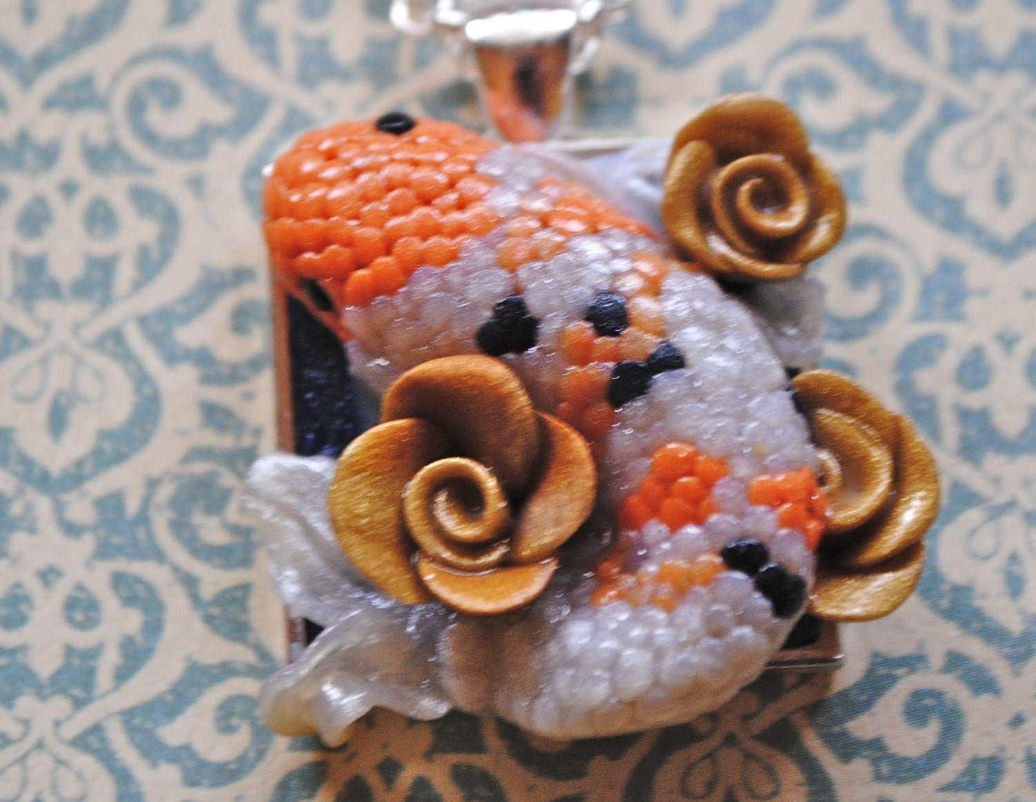 Reserved for avery koi fish necklace wearable polymer clay for Clay koi fish
