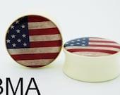 Vintage American Flag U.S.A. BMA Plugs 1 1/8 inch 28.5mm