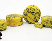 Hornet Yellow Synthetic Howlite Stone Plugs 6g (4mm)