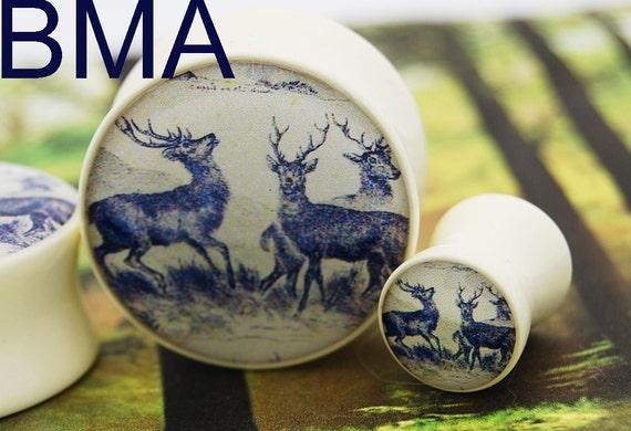 VINTAGE Deer Tapestry Plugs BMA 1/2 inch 13mm