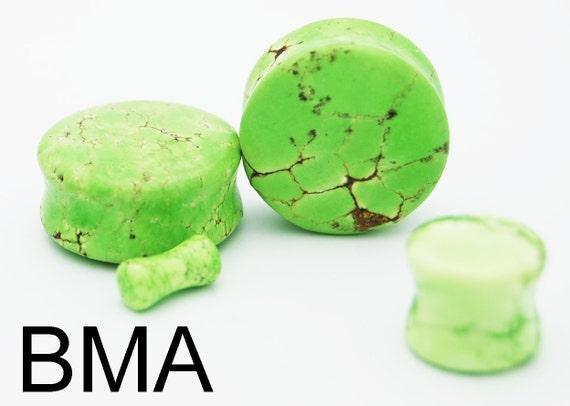 HONEYDEW GREEN Jade Stone Plugs 4g 5mm
