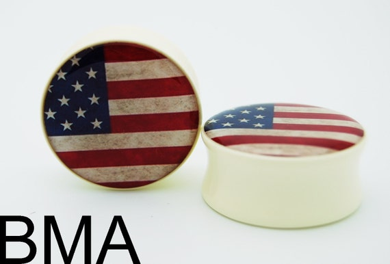 Vintage American Flag U.S.A. BMA Plugs 1 inch 25mm