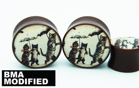 Vintage Cats and Umbrellas Postcard BMA Plugs 1 1/2 inch (38 mm)