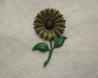 Vintage Enamel Flower Pin Brooch