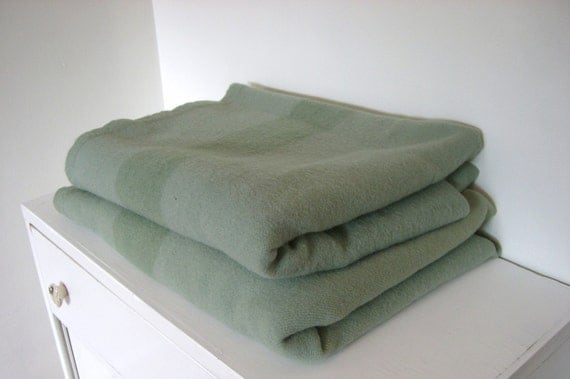 1930s Hudson Bay 4 Point Green Wool Blanket Made In England