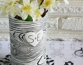Personalized Faux Bois Wrapped Bark Ceramic Vase - Made To Order