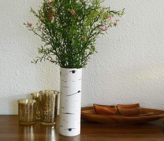 Slender Aspen Bark Stoneware Vase