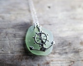 Spanish Sailor Light Sage Green Sterling Silver Sea Glass Necklace with Anchor Ships Wheel