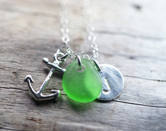 Personalized Charm Necklace with Sea Glass Anchor and Initial Charm Sterling Silver Wedding Bridesmaid Gift, Sailor, Hope - Hebrews 6:19