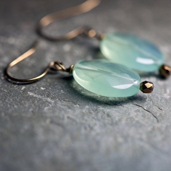 Seafoam Aqua Chalcedony Antiqued Brass Earrings, Mint Green Faceted Oval Stones