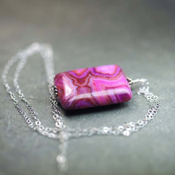 Pink Crazy Lace Agate Necklace Sterling Silver