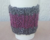 Coffee or Tea Cup Sleeve-Cozy ribbed in burgundy red and slate gray, textured and soft