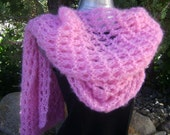 Pink Rose soft and warm Shoulder Wrap/Shawl in open ridged lace