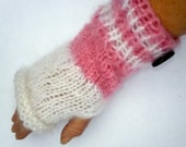 Fingerless Gloves-Wrist Warmers striped in cotton candy pink and white with a floral decorated wood accent button