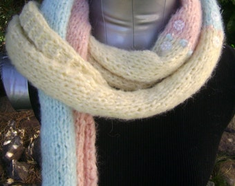 Pastels Rolled Scarf in light yellow, pink, and blue with floral decorated accent buttons and contrasting stitching