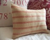 ON VACATIONred jute pillow cover / red stripe / natural / upholstery binding / burlap / farmhouse / rustic / webbing /