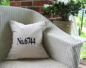 embroidered number pillow cover - personalized gift - custom - black - linen - gift idea - house number pillow - cushion cover