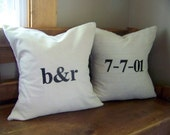 personalized wedding pillow cover set - embroidered - custom - black - linen - wedding gift - anniversary gift - engagement gift