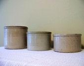 set of three antique stoneware crocks - primitive - earth tones - planter