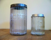 vintage farmhouse coffee and tea canisters - set of 2