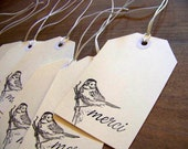 thank you gift tags - set of 8 - merci - bird - hand stamped - ivory and black