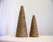 set of two twine christmas trees - jute - natural fiber - decoration