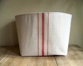 grainsack basket red stripe / vintage style / canvas basket / storage basket / organization / gift basket / red stripe Christmas