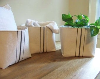 free shipping - set of three grainsack baskets - black stripe - vintage style - gift basket - storage basket - organization - burlap