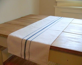 free shipping - grainsack table runner - navy blue stripe - canvas - vintage style - grain sack - farm house - rustic