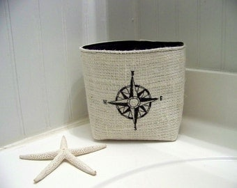 free shipping - burlap compass rose basket / embroidered / black / storage / organization / nautical / burlap basket / coastal/ fabric bin /
