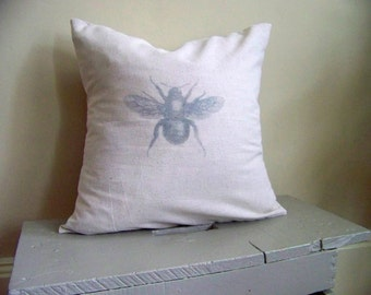 free shipping - bumble bee pillow  - vintage style - gray - home decor - cotton - nature - natural - bee - honey bee - bumble bee