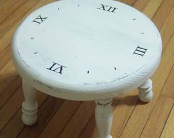 ON VACATIONclock stool -  vintage style - clock face - hand painted - white - wooden - step stool - time - furniture - foot stool - foot re