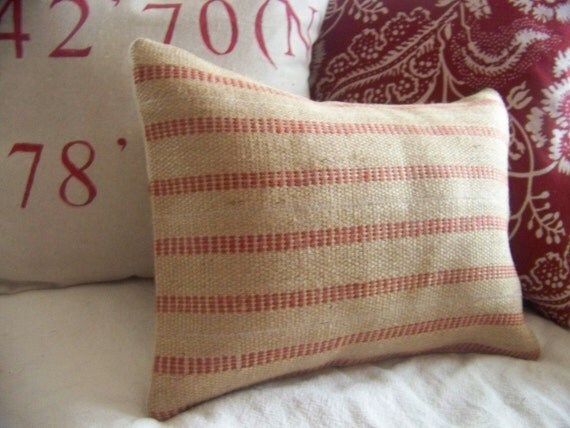 red jute pillow cover / red stripe / natural / upholstery binding / burlap / farmhouse / rustic / webbing /