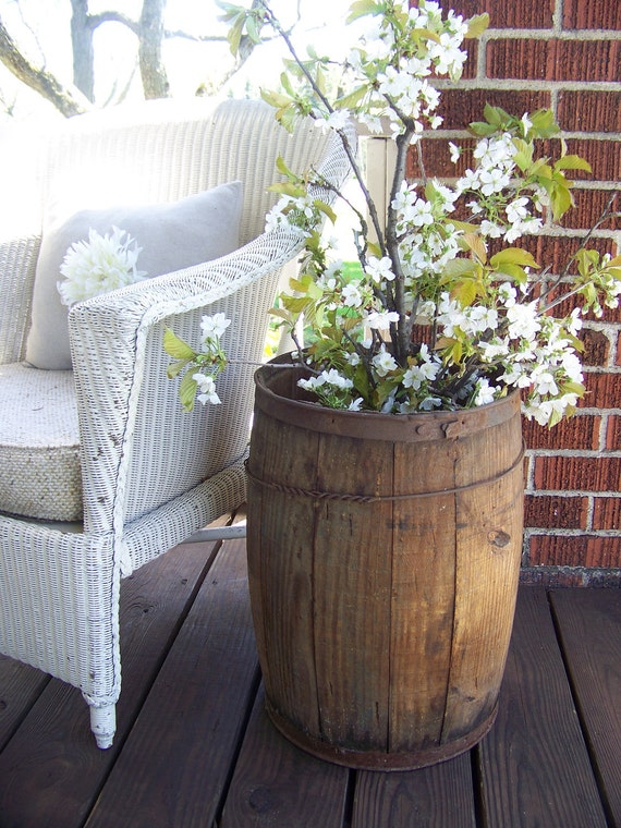 antique wooden barrel - farm fresh