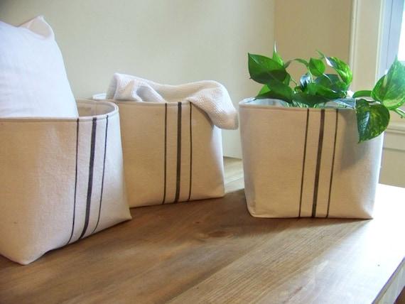 set of three grainsack baskets - black stripe - vintage style - canvas - gift basket - storage basket - organization - burlap