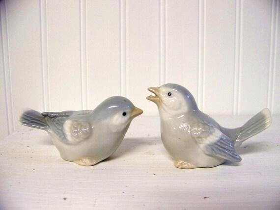 set of two vintage birds - porcelain - ceramic - blue - gray