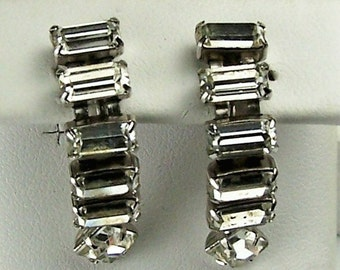 Vintage Art Deco Rhinestone Emerald Cut Screw-Back Straight Line Ladies Earrings