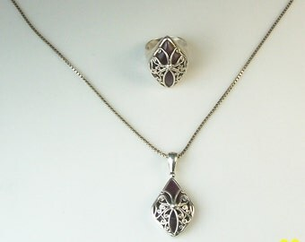 Sajen Sterling Silver and Amethyst Pendant with Chain and Matching Ring