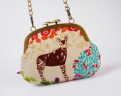Mushroom purse - Etsuko Savannah on natural  - metal frame purse with shoulder strap
