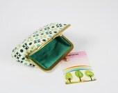 Daddy purse - Starflowers in green - metal frame pouch