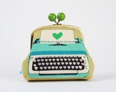 Color bobble pouch - Typewriters in blue and sage - metal frame pouch