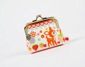 Deep mum - Kawaii deer on white - metal frame purse