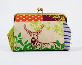 Cosmetic pouch - Echino forest patchwork in bright - metal frame clutch bag
