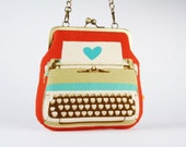 Clutch bag - Typewriter in coral - metal frame purse with shoulder strap