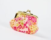 Mummy purse - Fireworks in pink - metal frame pouch