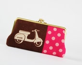 Long siamese - Echino scooters on brown - double metal frame purse