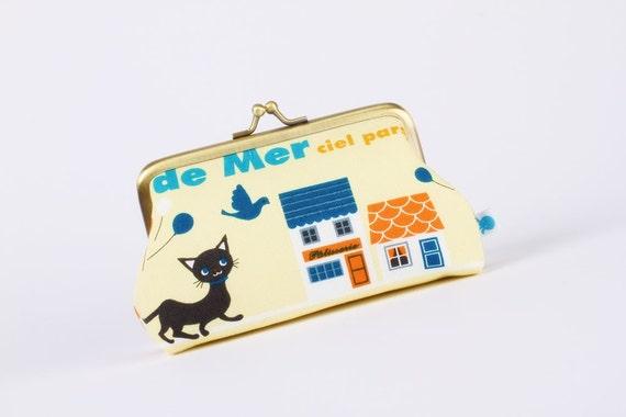 Little pouch - Eau de mer Cats on yellow - metal frame pouch