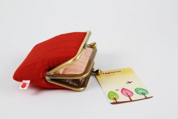 Siamese - Keiki stripes in red - double metal frame purse