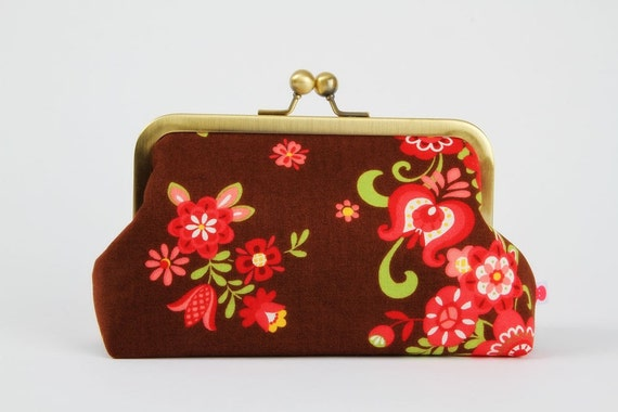 Bag pouch - My folklore Flowers in wine -  metal frame pouch